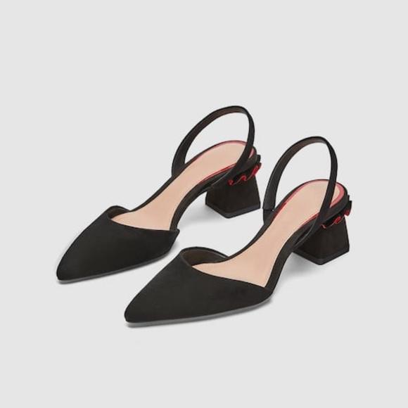 8dfa6dbd2b Zara Shoes | Leather Slingback With Ruffles | Poshmark
